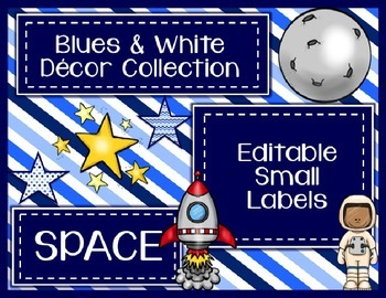 Blues & White/Space Decor: Editable Small Labels