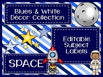Blues & White/Space Decor: Editable Subject Labels
