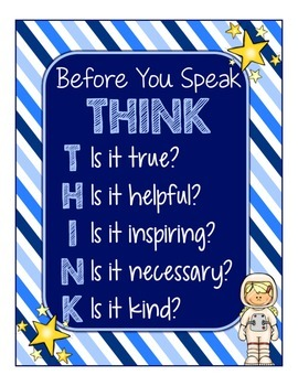 Blues & White/Space Decor: THINK Poster