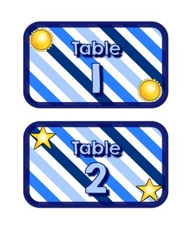 Blues & White/Space Decor: Table Numbers