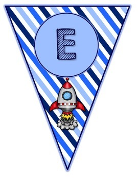 Blues & White/Space Decor: Welcome Banner & Editable Pennants