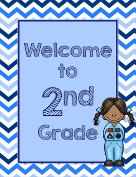 Blues & White/Space Decor: Welcome to ____ Grade Poster-Chevrons