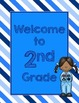 Blues & White/Space Decor: Welcome to ____ Grade Poster-Stripes