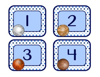Blues & White/Space: Number Labels