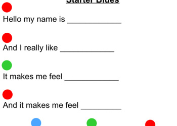 Blues Writing Starter Fill in the Blanks