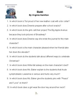 Bluish by Virginia Hamilton, Battle of the Books, Questions