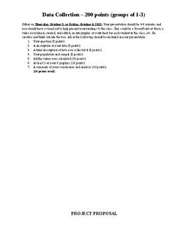 Bluman Statistics Chapters 1-3 Cumulative Project