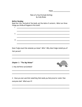 Blume Tales of a Fourth Grade Nothing- Comprehension Questions/Answer