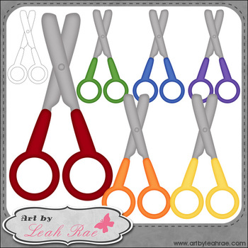 Blunt Tip Scissors 1 - Art by Leah Rae Clip Art and Line Art / Digital Stamps