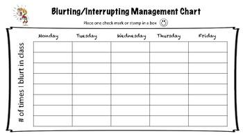 Blurting/Interrupting Behavior Management Chart for ADHD Students