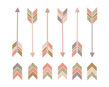 Blush Arrows and Arrowhead Clipart Set #165