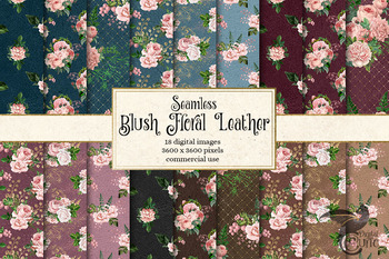Blush Floral Leather Digital Paper, seamless rustic boho textures and patterns