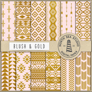 Blush & Gold Tribal Digital Paper