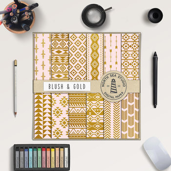 Blush & Gold Tribal Digital Paper, Gold Patterns, Aztec Backgrounds