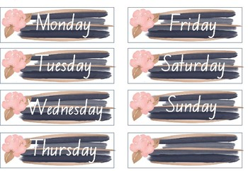 Blush, Navy and Gold Theme Editable Calendar Display