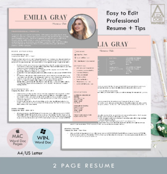 Blush Pink Gray Photo Resume Template, clean resume, minimalistic, for  mac,pages