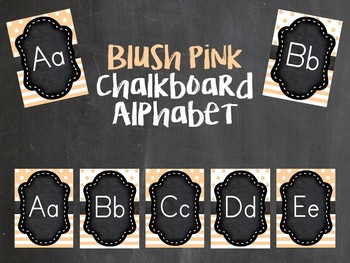 Blush Pink and Chalkboard alphabet line posters