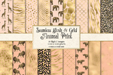 Blush Pink and Gold Animal Skins digital paper