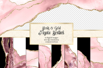 Blush Pink and Gold Glitter Agate Borders