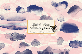 Blush Pink and Navy Blue watercolor clipart paint elements, png overlays