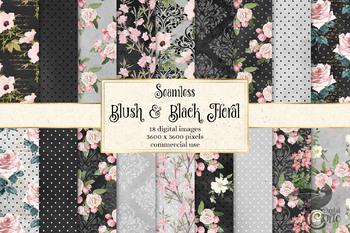 Blush and Black Floral Digital Paper Patterns