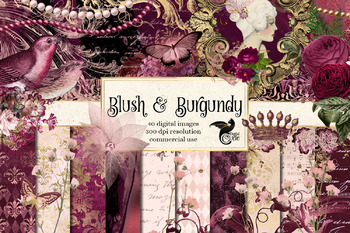 Blush and Burgundy Digital Scrapbooking Kit