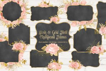 Blush and Gold Floral Chalkboard Frames