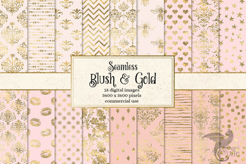 Blush and Gold digital paper, blush pink and gold foil seamless backgrounds