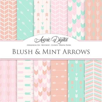 Blush and Mint Arrow Digital Paper