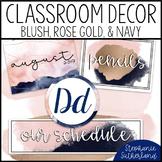 Blush and Navy Classroom Decor