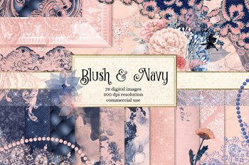 Blush and Navy Clipart and Digital Paper