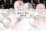 Blush and Silver Balloons Clipart