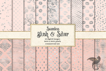Blush and Silver Digital Paper, blush pink and silver foil backgrounds