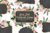 Blush pink floral chalkboard frames clipart