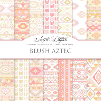 Blush pink yellow aztec Digital Paper arrows tribal scrapb
