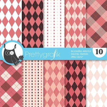Blushing Argyle digital paper, commercial use, scrapbook papers - PS514