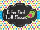 BoHo Cute Birds Chalkboard and Polka Dot Hall Passes
