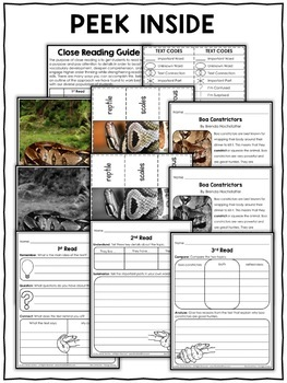 Close Reading Passage - Boa Constrictor Activities