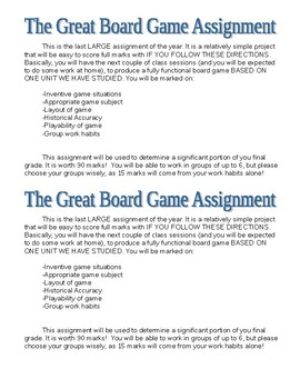 Board Game Assignment Cumulative project