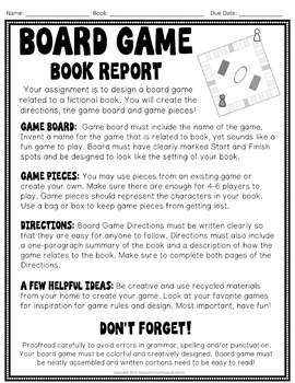 Board Game Book Report: Design a Game Based on a Fiction Book!