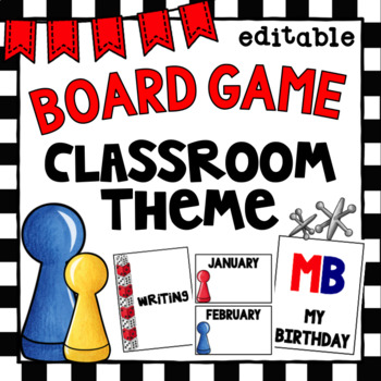 Board Game Class Decor | Editable | Binder Covers and Birthday Set