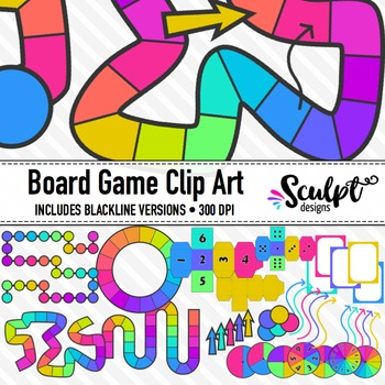 Board Game Clipart ~ Neon Colors