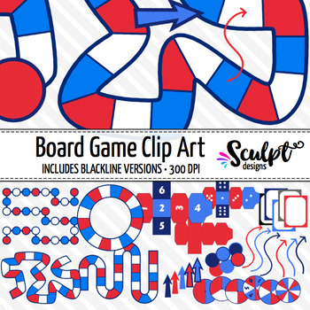 Game Boards Clipart ~ Red, White & Blue