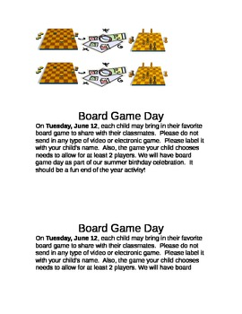Board Game Day Activity Letter For Parents