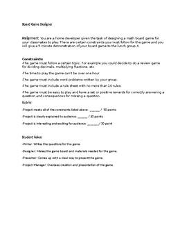 Board Game Designer-Project Based Learning