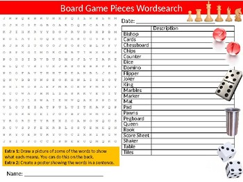 Board Game Pieces Wordsearch Sheet Starter Activity Keywords Leisure Family