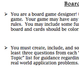 Board Game Project Any Topic/Level; Explore the Idea of Mathematical Probability