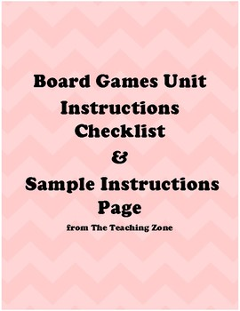 Board Game Project Instructions Checklist and Sample
