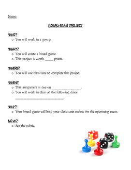 Board Game Project, Rubric, and Reflection