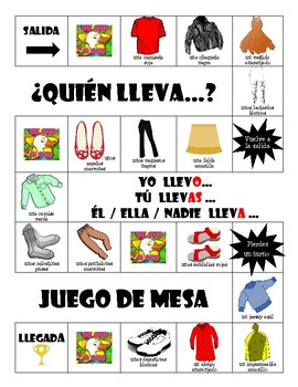 La ropa - ¿Quién lleva ...? - Board Game